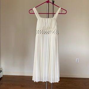 Silky Ivory Dress w/ Pleated detailing